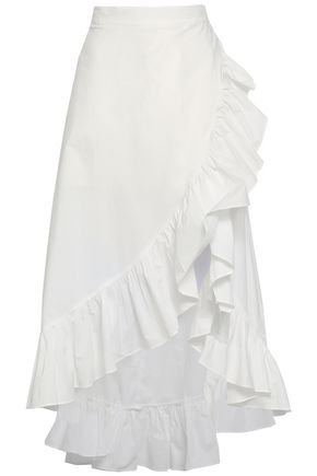 RAOUL Wrap-effect ruffle-trimmed cotton-poplin skirt
