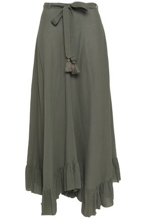 ZIMMERMANN Tasseled cotton-seersucker maxi wrap skirt