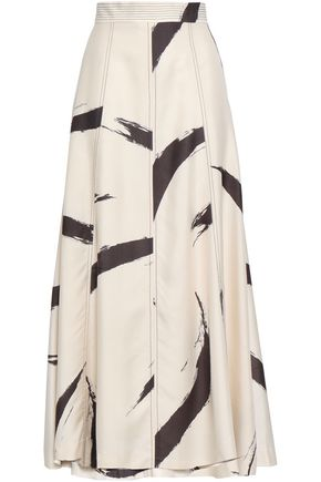 ZIMMERMANN Paneled printed silk maxi skirt