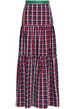 STELLA JEAN Tiered checked cotton maxi skirt
