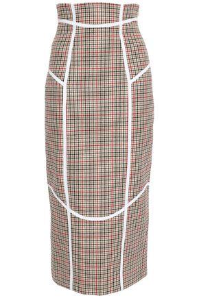 STELLA JEAN Houndstooth tweed pencil midi skirt