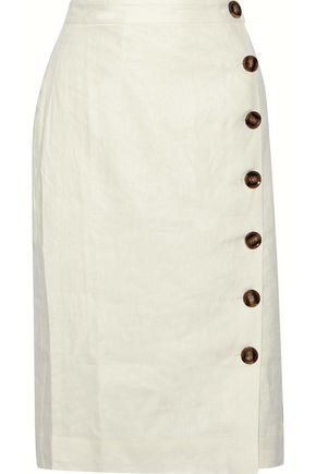 IRIS & INK Louisa button-detailed linen skirt