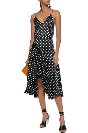 CAROLINE CONSTAS Asymmetric polka-dot silk-blend satin skirt