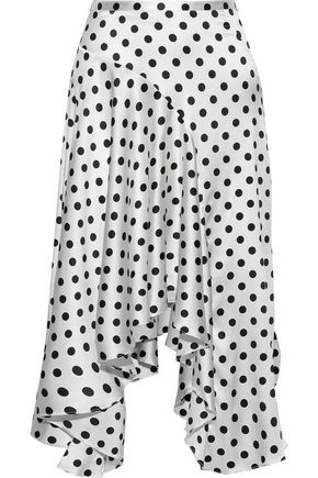 CAROLINE CONSTAS Asymmetric polka-dot silk-blend satin midi skirt