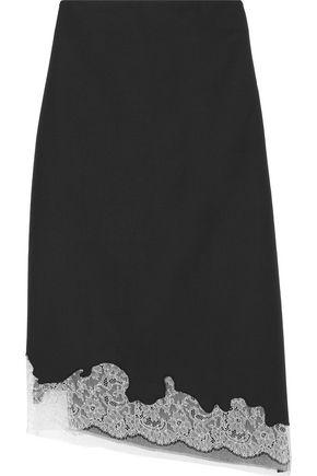 TIBI Lou Lou asymmetric Chantilly lace-trimmed wool skirt