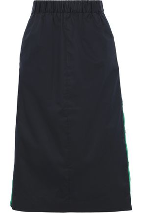 TIBI Snap-detailed cotton-poplin skirt