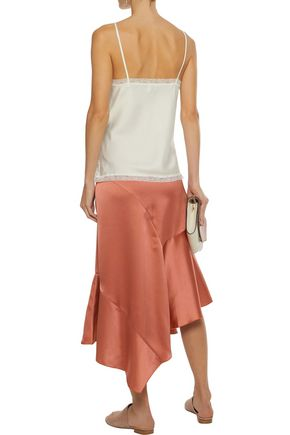 IRIS & INK Maisy asymmetric satin-crepe midi skirt