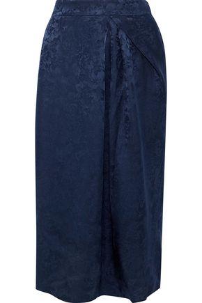 IRIS & INK Tasmin silk-blend floral-jacquard midi skirt