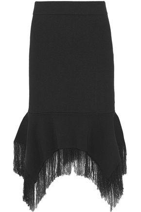 SACHIN & BABI Takia asymmetric fringe-trimmed stretch-knit skirt