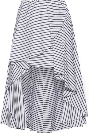 CAROLINE CONSTAS Adelle wrap-effect striped cotton-poplin mini skirt