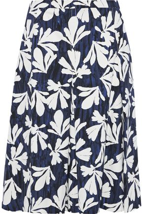 OSCAR DE LA RENTA Pleated floral-print stretch-cotton twill skirt