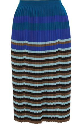 MARNI Pleated striped wool skirt
