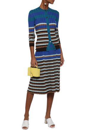 MARNI Pleated striped wool skirt