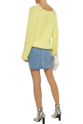 L'AGENCE Manuela distressed denim mini skirt