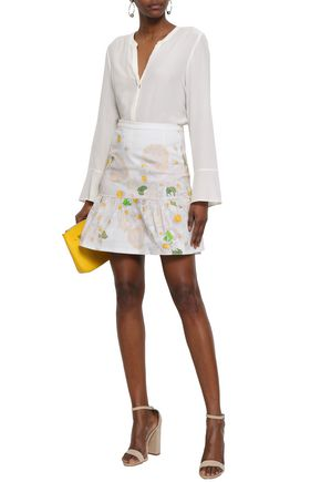 ISOLDA Fluted printed cotton-blend mini skirt