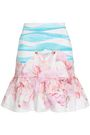 ISOLDA Fluted printed cotton-blend mini skirt