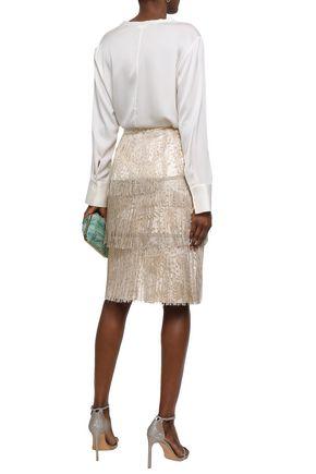 ISOLDA Fringed metallic jacquard skirt