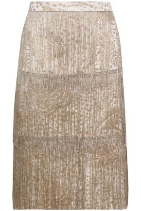 ISOLDA Fringed metallic jacquard skirt