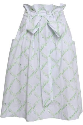 ISOLDA Tie-front printed cotton-blend skirt