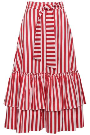 CAROLINE CONSTAS Belted striped cotton-poplin midi skirt