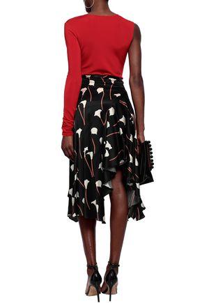 CAROLINE CONSTAS Asymmetric printed silk-blend satin skirt