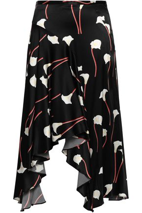 CAROLINE CONSTAS Asymmetric printed silk-blend satin skirt