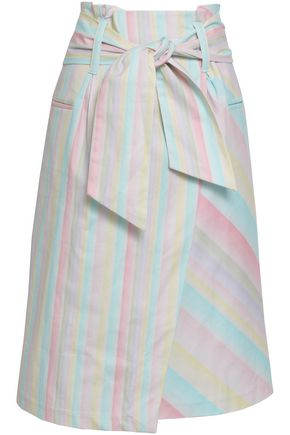 ISOLDA Tie-front striped cotton-blend skirt