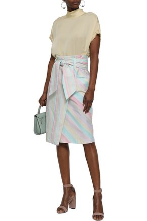 ISOLDA Tie-front striped cotton-blend skirt