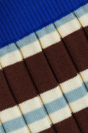 MARNI Striped ribbed cotton-blend skirt