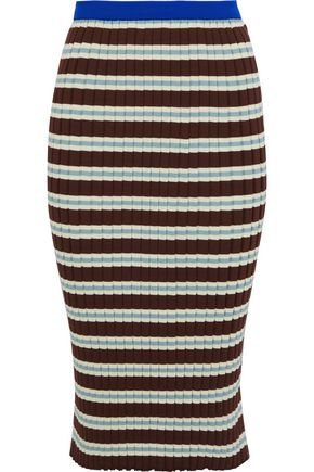 MARNI Striped ribbed cotton-blend skirt