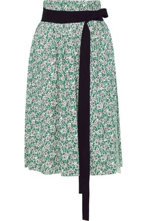 MARNI Tie-front floral-print cotton-poplin skirt