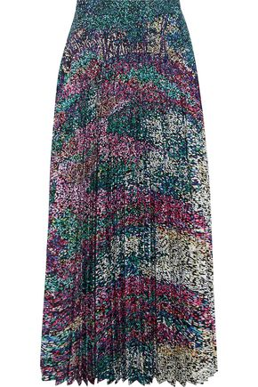 MARY KATRANTZOU Pleated printed washed-crepe midi skirt