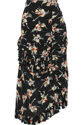MARNI Asymmetric floral-print washed-silk midi skirt