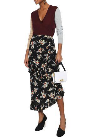 MARNI Asymmetric floral-print washed-silk midi skirt