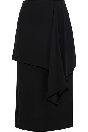 MARNI Layered draped crepe midi skirt