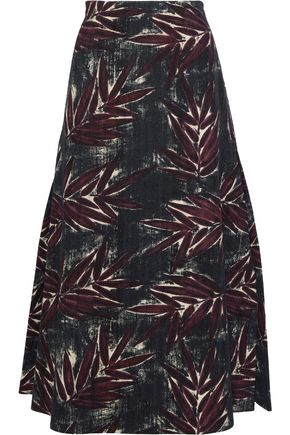 MARNI Printed cotton and silk-blend twill midi skirt