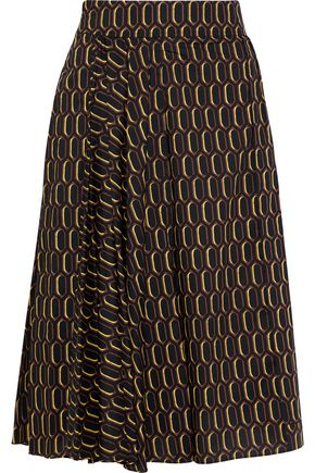 MARNI Pleated printed cotton-poplin skirt