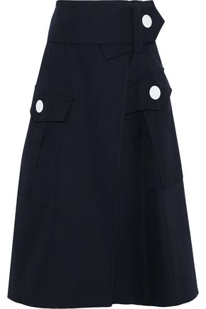 MARNI Flared wool-gabardine midi wrap skirt