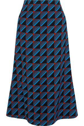 MARNI Printed wool-crepe midi skirt