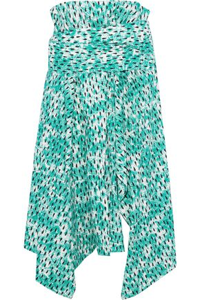 MARNI Asymmetric printed cotton-poplin midi skirt