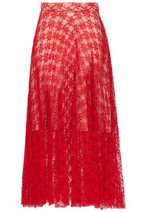 CHRISTOPHER KANE Pleated lace midi skirt