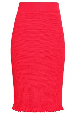 ALTUZARRA Ruffle-trimmed knitted pencil skirt