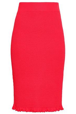 ALTUZARRA Ruffle-trimmed knitted pencil skirt