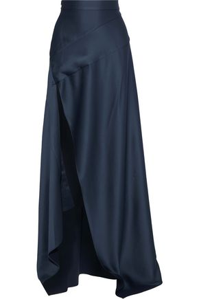 MICHAEL LO SORDO Split-front hammered-satin maxi skirt