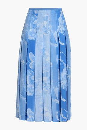 VICTORIA BECKHAM Pleated printed crepe midi skirt