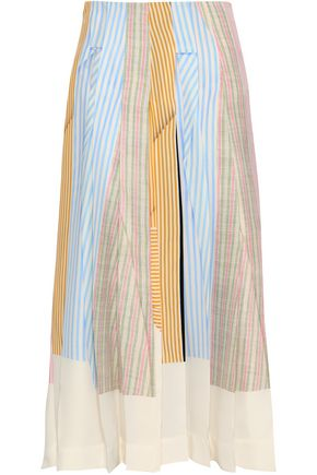 VICTORIA BECKHAM Striped silk-crepe midi skirt