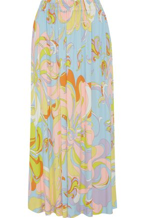 EMILIO PUCCI Printed stretch-crepe midi skirt