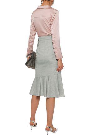 ADEAM Asymmetric tie-front wool-blend midi wrap skirt
