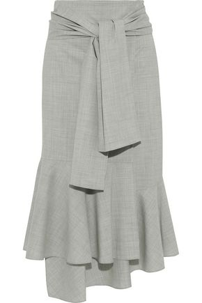 ADEAM Asymmetric tie-front wool-blend midi wrap skirt