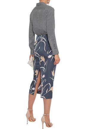 DIANE VON FURSTENBERG Printed stretch-jersey midi pencil skirt